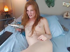 american blonde shemale milf in bed, talking, singing and playing