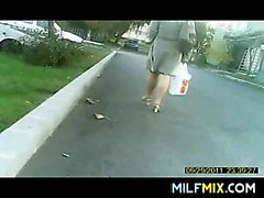 MILF In Heels Walking Home