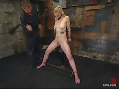 Mouth taped tight and massive nipple clamps and pussy flogged