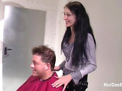 18yr old German Teen get fucked by old Man in Hair parlour