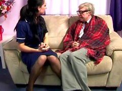 Sweet ass CFNM babe makes geriatric horny