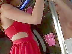 Horny party sluts fucked in a party bus