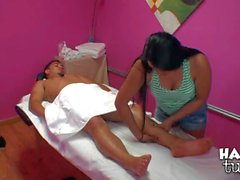 guy gets turned on by asian lady on massage table