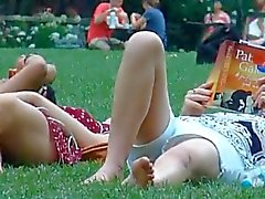 spy mom and young daughter in park part 2