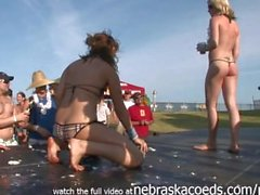 day time partying with topless bikini college party girls