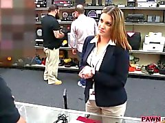 Busty businesswoman fucked in pawnshop