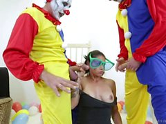 Big tits Dana Vespoli gets gangbanged by horny clowns
