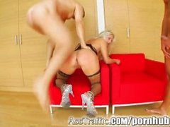 Ass Traffic Two cocks pound Kathy's ass and pussy and she eats cum