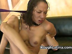 Collared And Leashed Latina Riding Dick Very Roughly