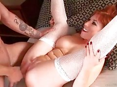 Busty redhead maid in fishnet stockings gets nailed hard