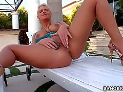 Big Ass blonde Phoenix Marie removes her panties outdoors