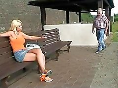 Old dude blackmails cute blonde slut for fuck