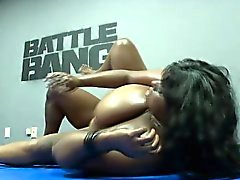 Chubby ebony woman has a black stud fulfilling her needs in the ring