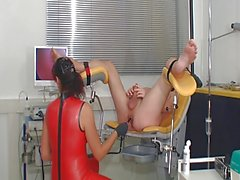 Latex femdom ass exam and cockmilking till cumshot
