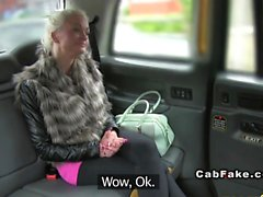 Busty Finnish blonde bangs in taxi