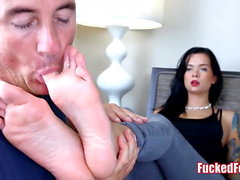 Slutty Teen Maria Marley Gives Footjob at FuckedFeet!