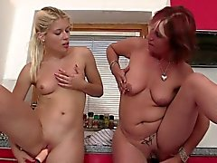 Old mature and teen double toying