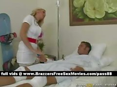 Sweet busty blonde nurse takes care of a patient