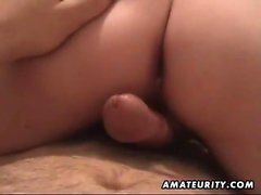 Puffy amateur sweetheart fucks and sucks with cum