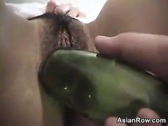 Bottle Inside Of Her Hairy Asian Hole