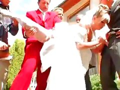 Bride gets fucked by groom`s buddies and showered with cum