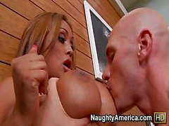 Bald Guy Cheats On His Wife With Tanned Busty Girl