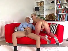 Old man and a sexy tattooed slut