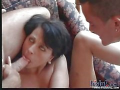 This slut loves sucking these two dicks