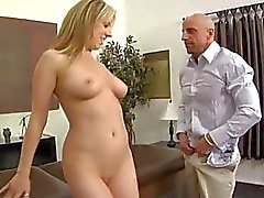 Muscled bald stud with tattooes gives full body massage to hot blonde