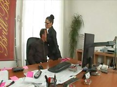 Hot brunette secretary is a professional at taking the bosses dick-tation