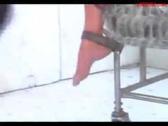 Busty Blonde With Tied Arms Sitting In A Trolley Whipped Tortured With Stick By Mistress In The Dungeon