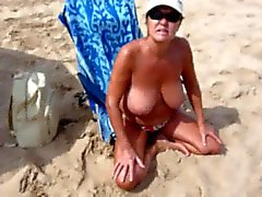 Spanish Woman with big tits on Nudist Beach!