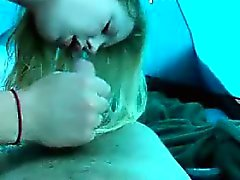 Cute blonde amateur blowjob with tiny dick