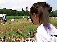 Subtitled CFNM outdoor Japanese semen milking ranch
