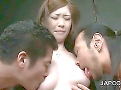 Two asian horny dudes rubbing wet pussy and sucking tits