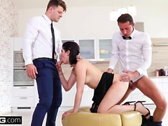 Lady Dee fucks the room service waiter and her boyfriend