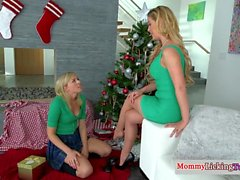 Naughty stepteen lures stepmom into lesbo sex