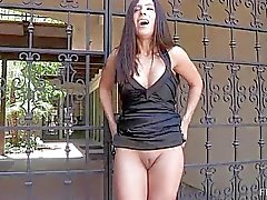 Zoey cute amateur latina with no panties masturbating with heel of shoe outdoors