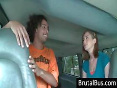 Brunette gets picked up on the bus and guy wants a blowjob