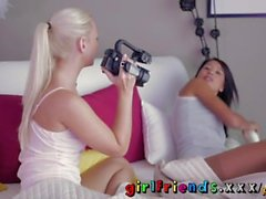 Girlfriends Blonde makes a sextape with her lesbian lover