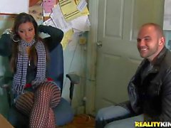 Nasty Latina Kimberly in fishnets takes it in her mouth