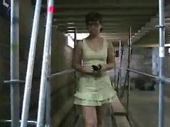 A babe gets nasty and masturbates in public train
