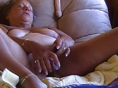 Older mature granny mom solo shaved pussy masturbating