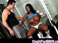 Glorious ebony curvy Aileen takes huge white dong at the gym