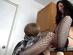 mistress play with lesbian feet slave