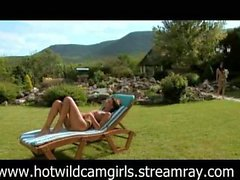hot wild sensous lesbian threesome outdoors
