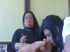 Kissing legs in pantyhose her Mrs!