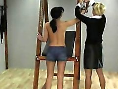 Blonde mistress spanks a gal