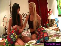 Extremely hot lesbian teens making out on bed part4