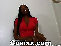 Hot Ebony Moaning While Pussy Creampie